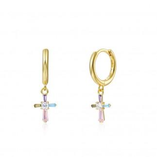 Pastel cross hoop earrings