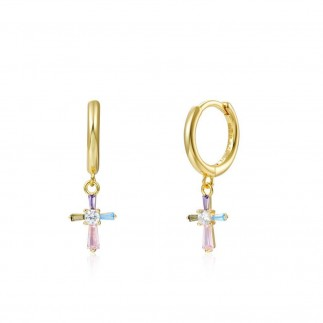 Pastel Cross hoops