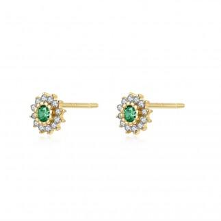Green Royal Flower Earrings
