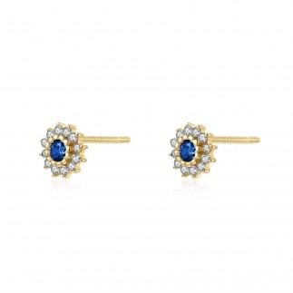 Blue Royal Flower Earrings