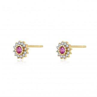 Ruby Royal Flower Earrings