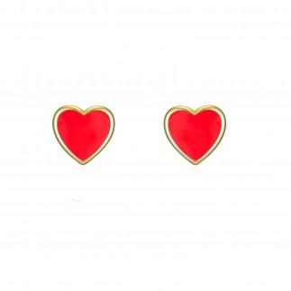 Red heart stud earrings