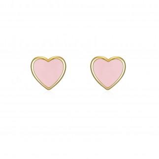 Pendientes corazón rosa