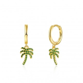 Green palm tree hoop earrings