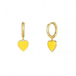Yellow heart hoop earrings