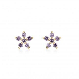 Purple flower stud earrings...