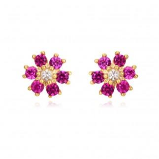 Pendientes flor circonitas...