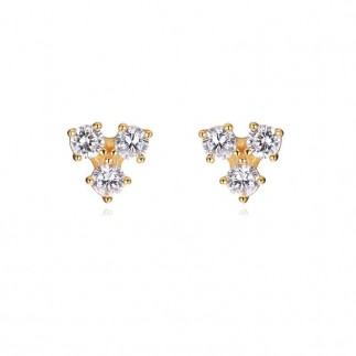 Three zircons stud earrings