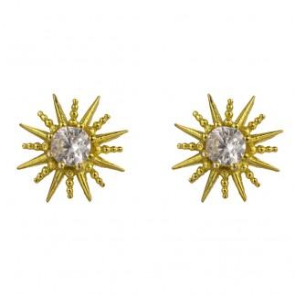 Zircon sun stud earrings