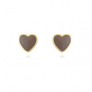 Grey Heart stud earrings