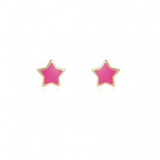 Pendientes estrella rosa...
