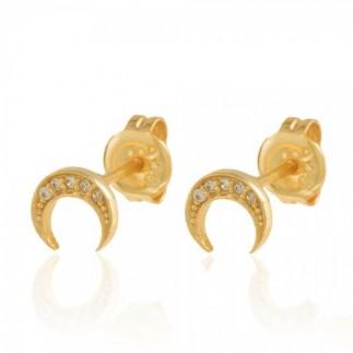 Moon zircon stud earrings