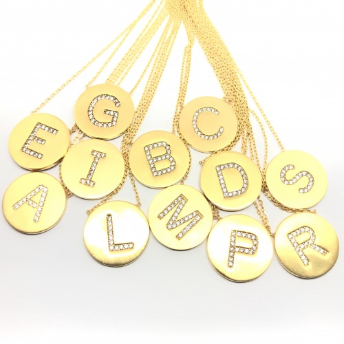 Initial Medal Necklaces