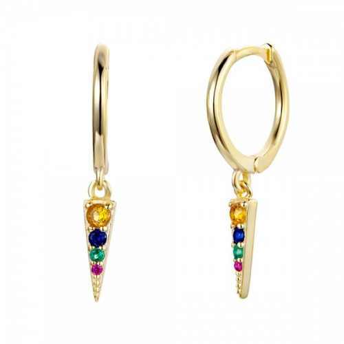 Triangle hoops with multicolored zircons