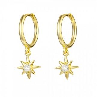 Shooting star hoop earrings