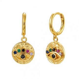 Eye medal earrings