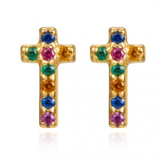 Cross with colored zircons...