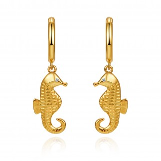 Seahorse hoop earrings