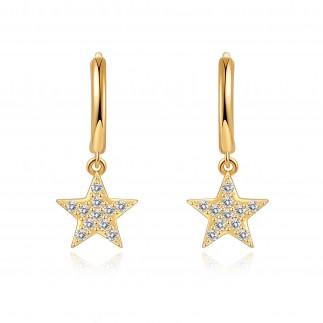 Zircon star hoop earrings