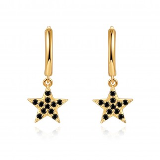 Black zirconia star hoops