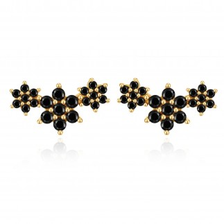 Pendientes trio flor negra