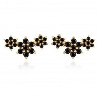 Three black flowers stud...