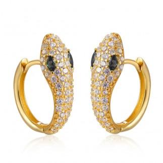 Black eyes snake hoop earrings