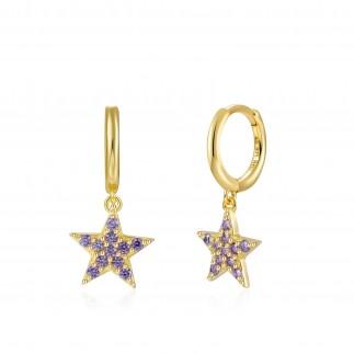 Aros Estrella Circonitas Malva