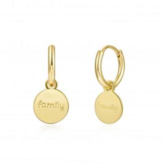 Family medal hoop earrings